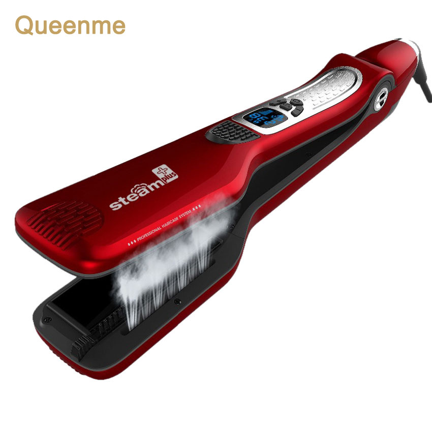 Queenme Professional Steam Hair Straighteners Electric Hair Brush Tourmaline Ceramic Straightening Flat Iron Hair Styling Comb professional vibrating titanium hair straightener digital display ceramic straightening irons flat iron hair styling tools eu