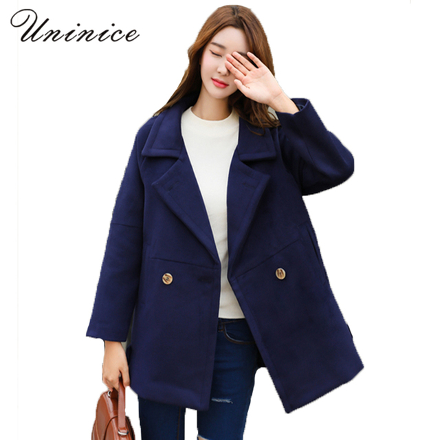 Aliexpress.com : Buy winter Hooded wool navy solid Coats Women ...