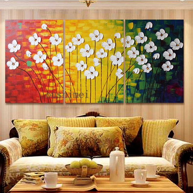 Handmade Modern Oil Painting On Canvas Abstract Flowers Wall ...