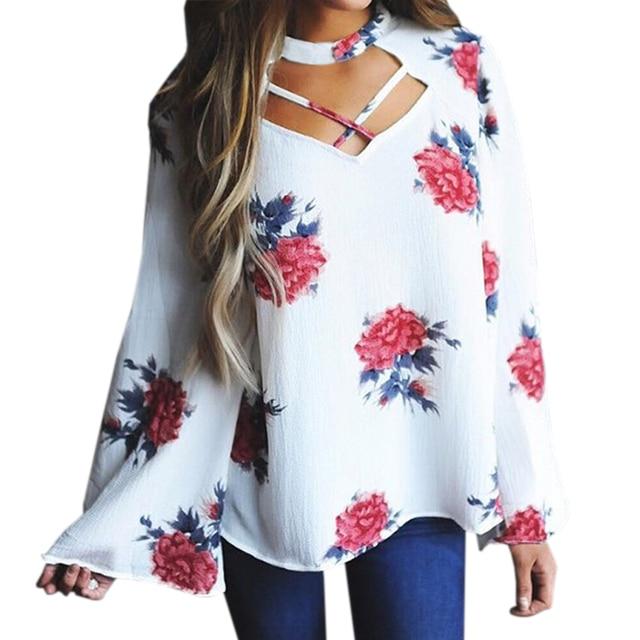 220db355597 Elegant Female Blusas Womens Fashion Blouse Shirts 2018 Autumn Loose Plus  Size Floral Printed Long Sleeve