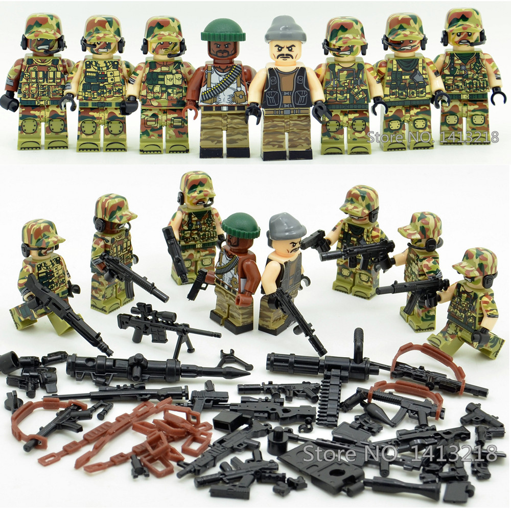 8pcs Jungle Commando Military Soldier World War Weapon SWAT Camouflage German Army Gun Building Blocks Boy Educational Toy Gift