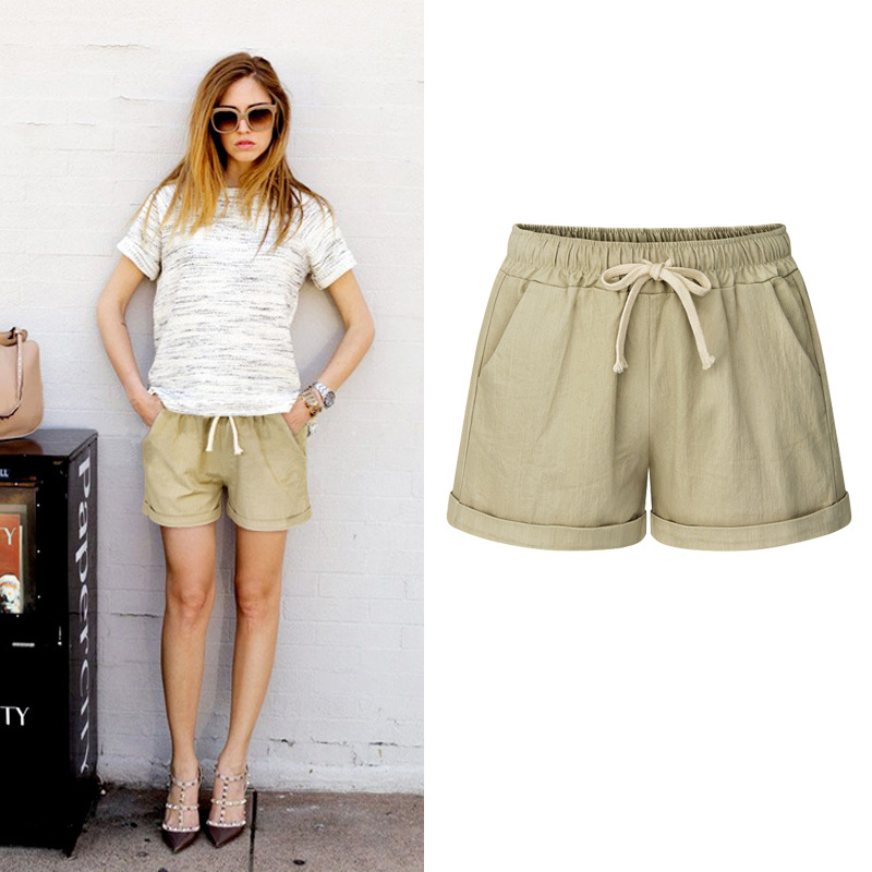 OUMOWEI Women's Shorts Summer New Loose Solid Color Casual Shorts Elastic Waist Cotton Ladies Shorts M To 6XL Size