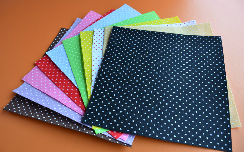 20cm x 20cm per sheet MP20x20 Pick your own color 1 Printed Multi Colored Polka Dots Felt Sheet