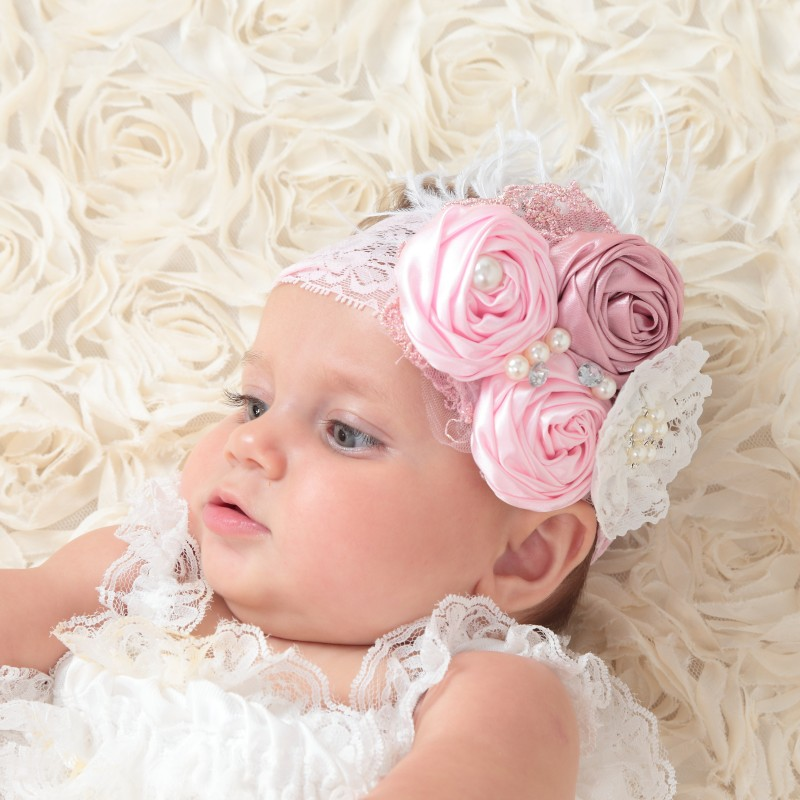 Satin Rosettes Matching Sparking Rhinestines Fabric Flower Baby Headband Baby Girls Hair Accessory Photography Props Kidocheese retail triple satin flower rosettes feather baby headband vintage burlap lace hairband kidocheese