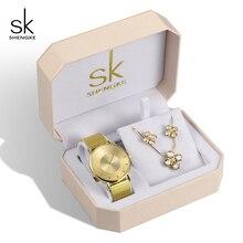 Shengke Luxe Gouden Horloges Oorbellen Ketting Vrouwen Set 2019 Top Merk SK Dames Polshorloge Met Crystal Sieraden Set