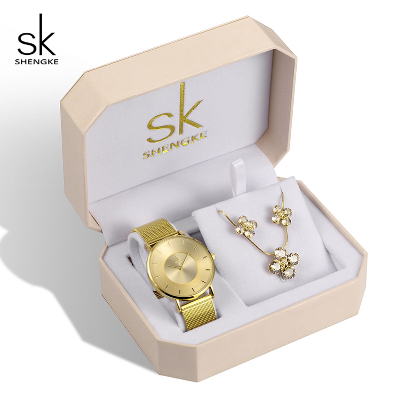 Shengke Luxury Gold Watches Earrings Necklace Women Set 2019 Top Brand SK Ladies Wrist Watch With Crystal Jewelry Set