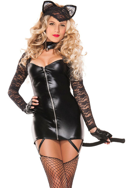 1b720c0ad Sexy Cosplay 2pcs Lace Cat Costume Online LC8896 Hot Sale 2016 Halloween  Costumes For Women Cheaper Sexy Catwoman Costume