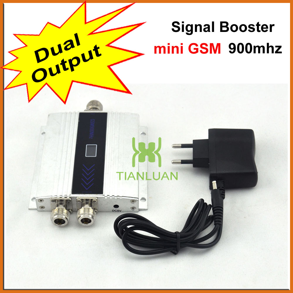 Dual Output Mini GSM 900Mhz Mobile Phone Signal Booster , GSM 2G Signal Repeater , Cell Phone Signal Amplifier With Power Supply