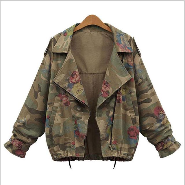 European American style cotton camouflage women jackets quality fashion vintage plus size L-4XL batwing short  outercoats H158