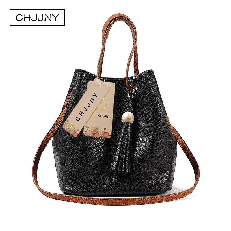 CHJJNY 2017 Autumn and winter newest fashion style genuine cow leather women simple handle bags with tassel mulinsen newest 2017 autumn winter men