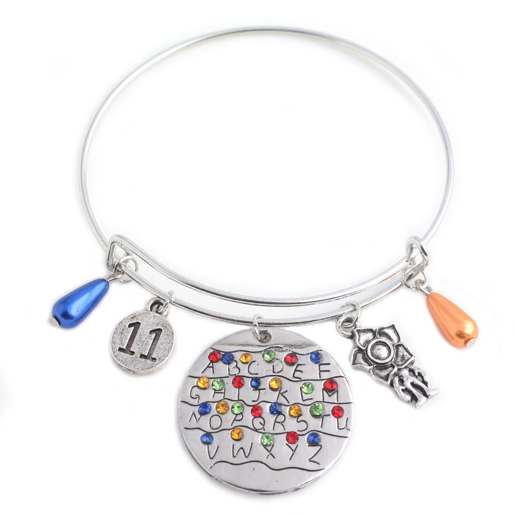 Stranger Things Charms Bracelet Alphabet Light Wall Pendant with Monster Eleven Letters Beads Bangles Bracelets Women Jewelry