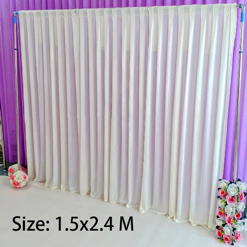 W2.4x H1.5M White ice silk cloth drapery haning curtain panels wedding party event photo backdrop decoration home textilesW2.4x H1.5M White ice silk cloth drapery haning curtain panels wedding party event photo backdrop decoration home textiles