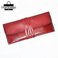 Ultrathin Designer Genuine Vegetable Tanned Cow Leather Women's Clutch Wallet Female Card Purse String Closure Lady Long Wallet