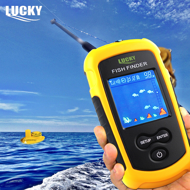 LUCKY 120m Wireless Echo Sounder Portable Fishfinder 40m Depth Detection Sonar Fish Finder Alarm FFCW1108-1 Color Display portable fish finder bluetooth wireless echo sounder underwater bluetooth sea lake smart hd sonar sensor depth