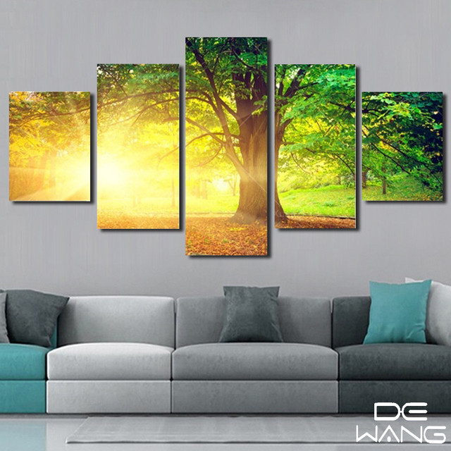 Modern 5 Panels Wall Art Painting Sunshine Green Tree Oil Picture ...