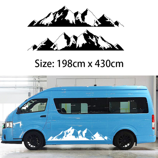 2x mountain off road camper van motorhome door body vehicle decal one for each side