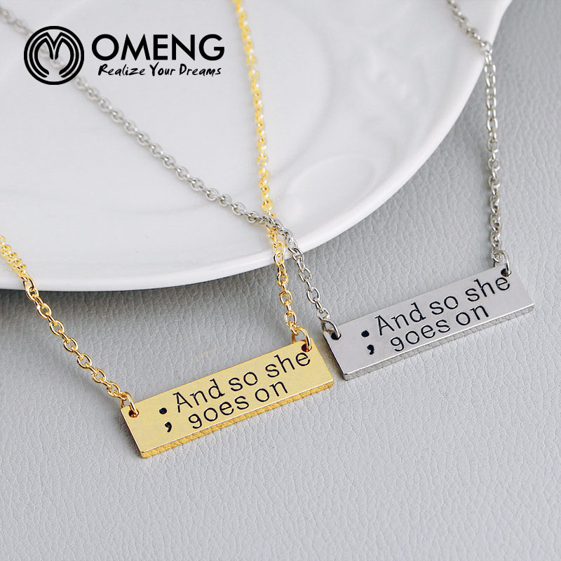2018 New Fashion And So She Goes On Lettering Necklace Inspirational Quotes Semicolon Jewelry XL840