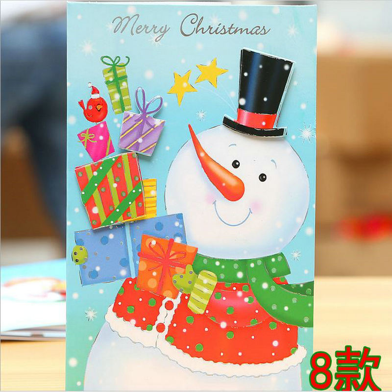 4pcs Christmas Greeting Card Dress up new pink gold foil Merry Christmas wish card 3D