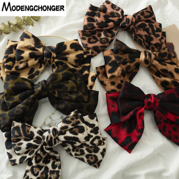 New Arrival Barrette 3 layers Leopard Print Hairgrips Big Large Bow Hairpin For Girls Ladies Hair Clip Fashion Hair Accessories big large barrette two levels chiffon hair bow love heart hair clip for women girls hairgrips sweet new fashion hair accessories