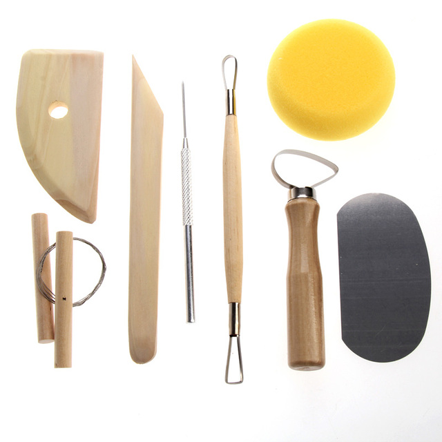 Pottery Tool 8 pcs Set Clay Ceramics Molding Tools Stainless Steel Wood Sponge Tool Set  Stainless Steel Wood Spong