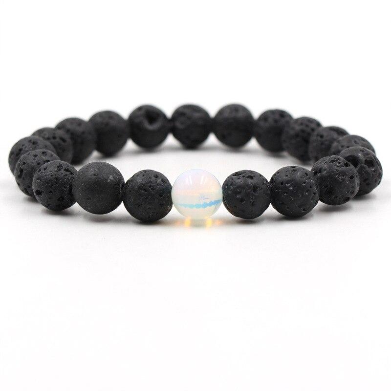10MM Opal Black Lava Stone Bead Bracelet Diy Aromatherapy Essential Oil Diffuser Bracelet Men Jewelry