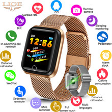 LIGE 2019 New Smart Bracelet Band Heart Rate Blood Pressure Fitness Tracker SmartWatch Men Women Sport Smart Wristband Pedometer(China)