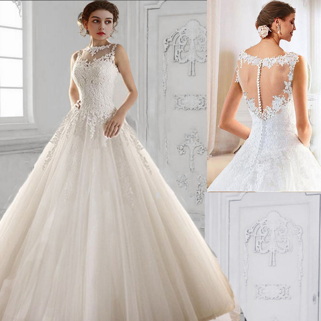 9036 2017 lace White Ivory A Line Wedding Dresses for bride gown ...