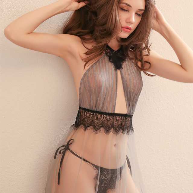 High Quality Beauty Back Sexy Seduction Nightdress Summer Tulle Sheer Lace Nightwear Nighties for Women Nightgowns 1