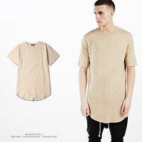 Fashion Curved Hem Hip Hop T Shirt Men Urban Kpop T Shirt Plus Size Cotton Mens