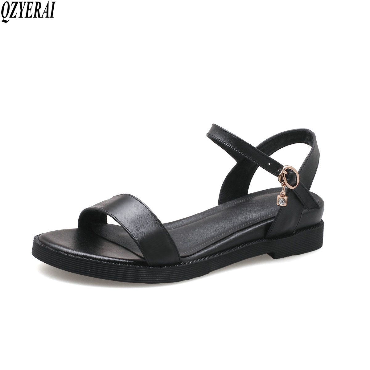 QZYERAI Summer new girls' sandals 100% leather sandals fashionable women's shoes sweats breathable cool women's shoes qzyerai new to summer summer sexy