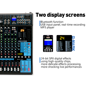 Image 2 - G MARK MG16MP3 16 channels Audio Mixer console 24 Bit SPX digital effect 2 display Bluetooth USB charging +48V Phantom power