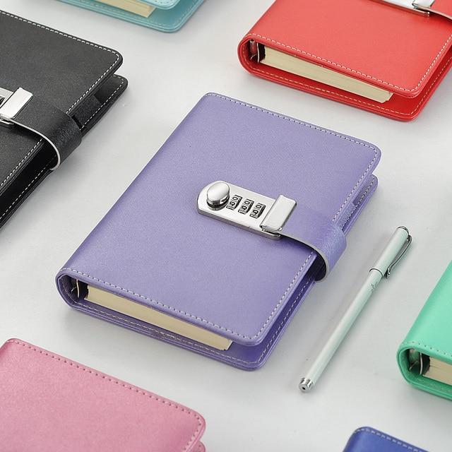 Novo caderno de couro com código de bloqueio diário pessoal negócio grosso bloco de notas espiral personalizado material escolar escritório presente