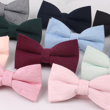 Men Bow Tie Solid color Shirts Bowtie For Men Women Business Wedding Bowknot Adult Solid Bow Ties Butterfly Blue Suits Bowties(China)