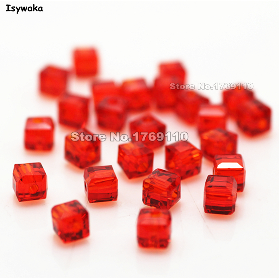 2MM//6MM//8MM Crystal bead Faceted Square Cube Glass Loose Spacer Beads,Red