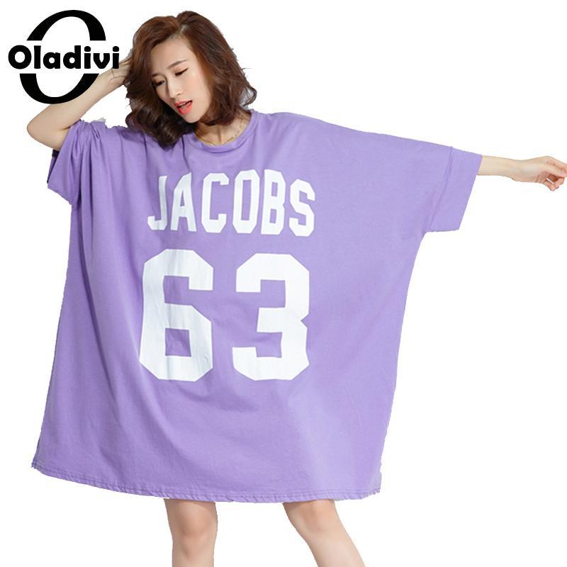 Oladivi Oversized Dresses Women Plus Size Clothing Casual Loose Letter Print Shirt Dress Ladies Long Top Tee Tunic 2018 Vestidio