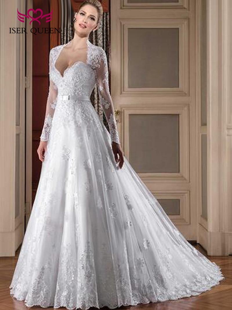 White Color Vintage Lace Wedding Dresses 2019 A line Custom Made Plus Size Arab Dubai Long sleeve Embroidery Wedding Dress W0112