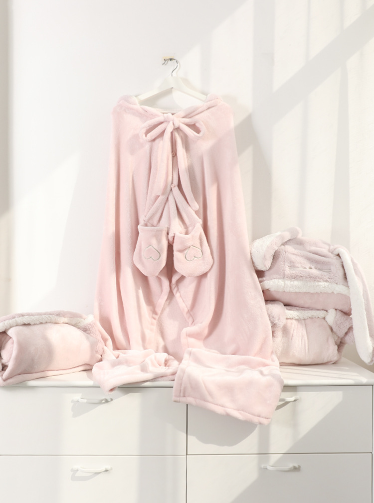 Cute Pink Comfy Blanket Sweatshirt Winter Warm Adults and Children Rabbit Ear Hooded Fleece Blanket Sleepwear Huge Bed Blankets 153