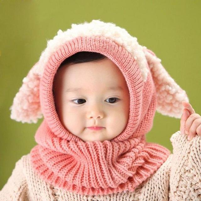 c4b07bd82 Winter Baby Girl Boy Warm Cute Dog Pattern Knitted Crochet Hooded ...