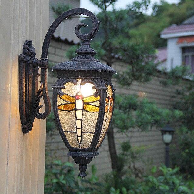 porch 1 pcs Novelty dragonfly Garden light Wall Lamp Waterproof Outdoor Door Front Wall Lamps Sunlight Room Balcony Wall Lights