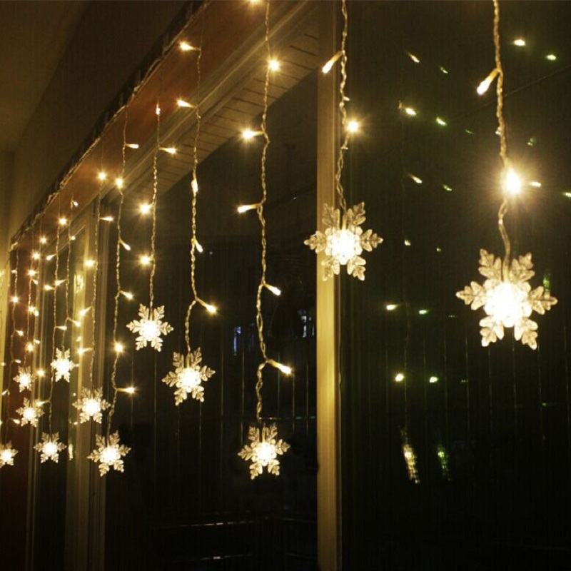 Snow shape led curtain string 120leds 24drop lines fairy for 6 star window christmas decoration lights