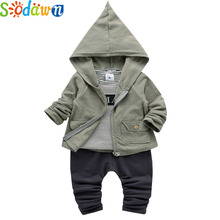 Sodawn 2017 Autumn New Boys Clothing Set Coat+Long-Sleeved Striped T-Shirt+Trousers 3Pcs Baby Boy Clothest Fashion Kids Clothing