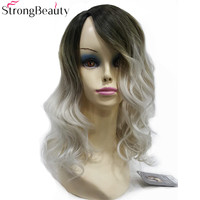 Strong Beauty Women S Wig Ombre Silver Gray With Dark Root Long Curly Hairstyle Synthetic Full