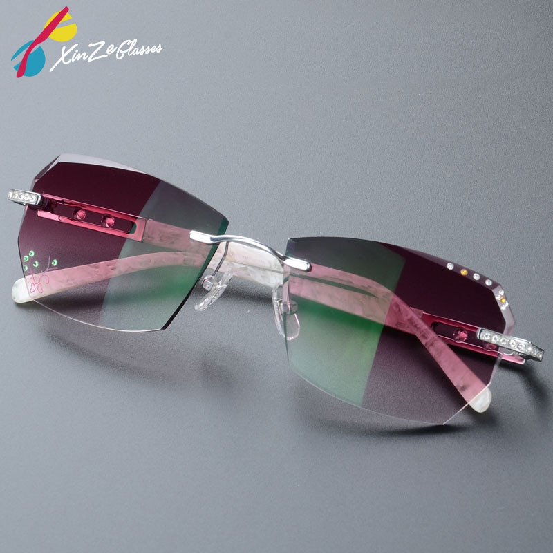2017 Summer style fashionable trimming rimless women s Complete prescription sunglasses with Rhinestones on lenses Gold