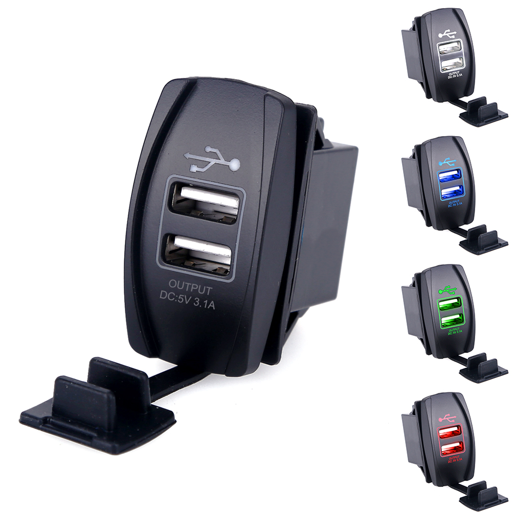 Universal <font><b>Car</b></font> Motorcycle Waterproof 2 Port Dual <font><b>USB</b></font> <font><b>Charger</b></font> For iPhone Samsung <font><b>3.1A</b></font> <font><b>Mini</b></font> Auto <font><b>Charger</b></font> <font><b>Adapter</b></font> <font><b>Car</b></font>-<font><b>Charger</b></font> image