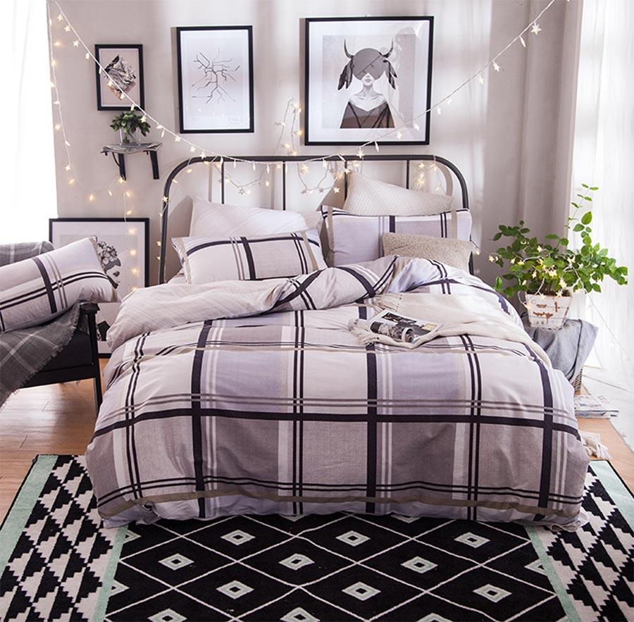 Boy plaid bedding - Geometric Plaid Bedding Set Adult Teen Kid Boy Cotton Full Queen Elegant Home Textiles Bedsheet