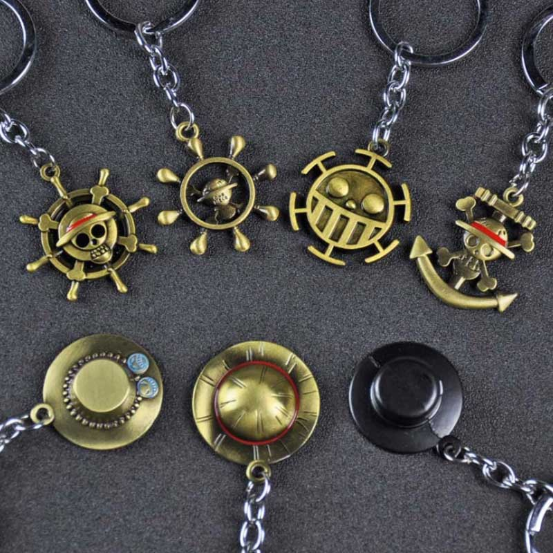 One Piece Luffy Hat Key Ring One Piece Action Figure Thousand Sunny Pirate Ship Toy Banner Pendant One Piece Anime Keychain