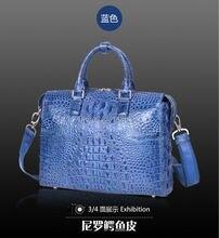 Men's Genuine Alligator Leather Shoulder Bag Business Bag, Crocodile Skin Leather Men Laptop Bag