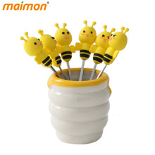 6pcs/set Cute Silicone Bee Fruit Forks Set Mini Cartoon Animal Stainless Steel Salad Dessert Picks Kitchen Fruit Vegetable Tools