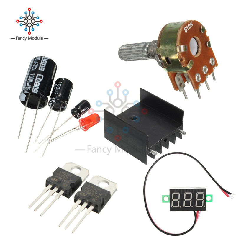 New DIY Kit Electric LM317 Adjustable Voltage Regulator Step Down Power  Supply Module With LED Meter