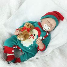 22 inch Reborn Bonecas Doll Girls Holiday Christmas Gift Lifelike Silicone Reborn Baby Doll with Little Bear & Maganet Pacifier